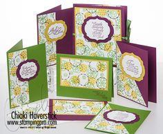 Circle Circus and Trust God Stamp Sets; Rich Razzleberry, Gumball Green and Summer Starfruit inkpads and cardstocks; Labels Collection framelits