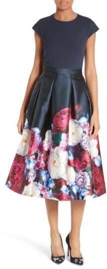 Women's Ted Baker London Valkia Blushing Bouquet Fit & Flare Dress