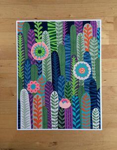 Tropical Jungles Succulent illustration art print wall by Chulart