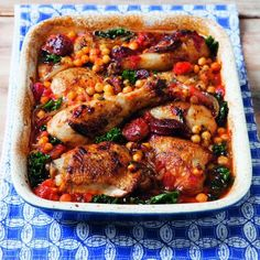 Prep time: 20 minutes | Cooking time: 35 minutes Serves 4Packed with protein from the chicken and chickpeas, this casserole type dish is a great way to use up leftovers. A wholesome meal that makes an ideal family dinner for those cold winter nights.INGREDIENTS:1 tbsp of olive oil