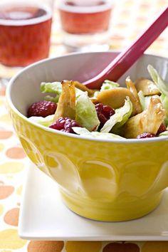 Recepten - Slaatje met frambozen en gekarameliseerde kip - Kip