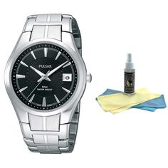 Pulsar PXH913 Men's Dress Silver Tone Black Dial Quartz Watch with 30ml Ultimate Watch Cleaning Kit