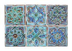 azulejo - arte exterior - decoración de jardín - arte azulejo - azulejo artesanal set de 6 azulejos 15cm - turquesa