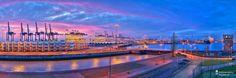 cool Fotografie »Blick auf die Nordschleuse und Containerterminal Bremerhaven Panorama«,  #Hafenbilder #Stadtansichten