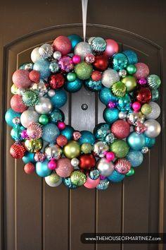 2013 Christmas Ornament Ball Wreath, Christmas Ornament Ball Wreath in 2013,  DIY Ornament Ball Wreath  #Christmas #Ornament Ball #Wreaths www.loveitsomuch.com