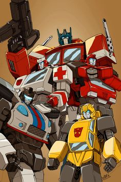 G1 Autobots: From Top to bottom: Optimus Prime, Ratchet, Ironhide, Jazz, and Bumblebee.  :D
