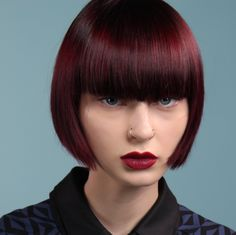 Black cherry dark red Eclipting color by Aveda artist Heggy Gonzalez. Makeup by Janell Geason, styling by Jen Hughes. Formula in comments.