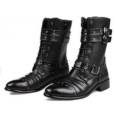 Men's Shoes Pointed Toe Low Heel Leather Motorcycle Ankle Boots - USD $ 34.99