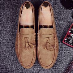 bbabb638b43f0 Men Leather Tassel Decoration Slip On Casual Driving Loafers