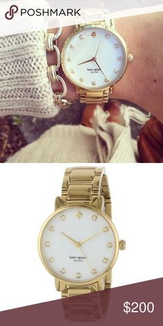 NEW kate spade Gramercy Crystal Marker Watch! NEW in watch box, kate spade Women's Gramercy Crystal Marker Bracelet Watch! Details: - Style #: 1YRU0007 - Gender: Women's - Case Material: Gold-tone stainless steel - Dial Color: White with crystal accents -