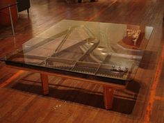 Reclaimed Piano Harp Glass Table | uPcYcLe iT! | Pinterest ...