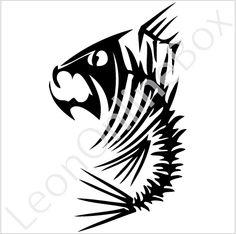 Fish Bone Monster Skull Tribal Custom Vinyl Decals & Window Sticker