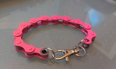 Pink Bike Chain Bracelet (new hot pink color). $7.00, via Etsy.