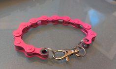 Pink Bike Chain Bracelet (new hot pink color). $7.00, via Etsy.