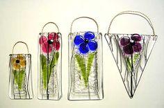 fused glass flower vase