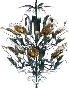 Another inspired piece that uses the beauty of abalone shell to decorate its frame, the Abalone Chandelier was originally unveiled as part of Duquette's one-man exhibition at the Los Angeles County Museum of Art.