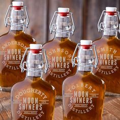 Groomsmen gift set of 5 Engraved Vintage Glass Flasks. Personalize each flask with 1 line up to 10 characters and 4 digit year.