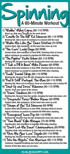 60- Minute Spinning Workout: Tons of variety on this ride that is highly adaptable for all levels. // A Daily Dose of Fit