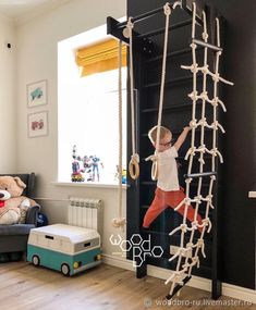 Holzsportkomplex Mini schwedische Mauer Strickleiter Seil Turnringe Reck To Rope Ladder, Wooden Ladder, Toy Rooms, Kids Room Design, Playroom Design, Playroom Decor, Kid Spaces, Girls Bedroom, Boy Bedrooms