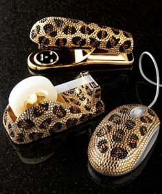 Bling Leopard Desk Acessories