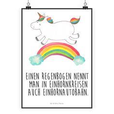 """Poster DIN A2 Einhorn Regenbogen aus Papier 160 Gramm weiß - Das Original von Mr. & Mrs. Panda. Jedes wunderschöne Poster aus dem Hause Mr. & Mrs. Panda ist mit Liebe handgezeichnet und entworfen. Wir liefern es sicher und schnell im Format DIN A2 zu dir nach Hause. Über unser Motiv Einhorn Regenbogen Ganz nach dem Motto """"Einen Regenbogen nennt man in Einhornkreisen auch Einhornautobahn"""". Das wunderbare Regenbogen Einhorn von Mr. & Mrs. Panda. Verwendete Materialien Es handelt sich um sehr…"""