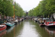 Sightseeing along the canals in Amsterdam.