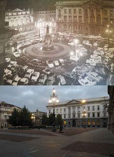 Non sempre ieri era meglio di oggi.  Nella foto in alto siamo nel 1960 in quella in basso ai giorni nostri.  Difficile in questo caso preferire ieri.  #900milano #milanodavedere Milano da Vedere