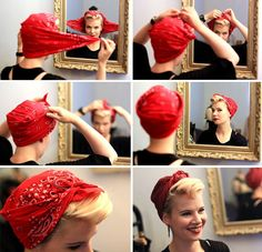 DIY 40s Bomb Girls styled scarf tutorial how-to styling. Made by me.