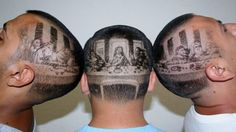 Last Supper Barber Cut! Create this design with Keller professional barber supplies! Photomontage, Barber Games, Mona Lisa, Shaved Hair Designs, Barbers Cut, Pin Up, Haircut Designs, Look Man, Last Supper
