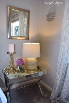 Don't be afraid to mix mirrored, silver and gold together in one area. The result will be light, bright, and beautifully reflective. All accessories shown, from HomeGoods. Sponsored Pin