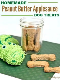Dog Training Chewing Homemade Peanut Butter Applesauce Dog Treats are Woofalicious!Dog Training Chewing Homemade Peanut Butter Applesauce Dog Treats are Woofalicious! Frozen Dog Treats, Diy Dog Treats, Healthy Dog Treats, Dog Biscuit Recipes, Dog Treat Recipes, Dog Food Recipes, Peanut Butter Dog Treats, Homemade Peanut Butter, Homemade Dog Cookies