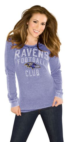Baltimore Ravens Women's Purple Redzone Burnout Thermal Long Sleeve T-Shirt -Touch by Alyssa Milano | Plus Size NFL Merchandise | OneStopPlus