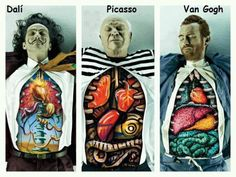 Dali, Van Gogh and Picasso Dissected. To promote the MASP art school a Brazilian ad company has created a campaign showing what famous painters Dali, Picasso and Van Gogh have inside them. This matches the style of the particular artist. Pablo Picasso, Picasso Art, Orca Tattoo, Arte Van Gogh, Powerful Art, Wow Art, Art Plastique, Vincent Van Gogh, Famous Artists