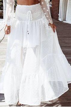 Dresses Length: Ankle-Length Waistline: Empire Pattern Type: Dot Material: Polyester Silhouette: Trumpet / Mermaid Decoration: Lace Size S / cm M / cm L / cm US 12 UK 8 10 12 AU 8 10 12 EU Waist Tile 60 64 68 Recommend Hip Recommend Lining Length 42 43 Long Lace Skirt, White Lace Skirt, White Dress, Maxi Skirt Outfits, Dress Skirt, Women's Fashion Dresses, Boho Fashion, Bohemian Style Clothing, Handmade Skirts