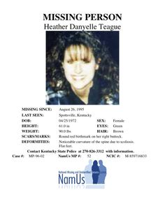 Lost Person Poster Best Heather Danyelle Teague  Heather Teague Missing Since 1995  Pinterest