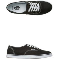 Vans Authentic Lo Pro Shoe ($45) ❤ liked on Polyvore featuring shoes, sneakers, black, vans shoes, vans trainers, lace up sneakers, black lace up shoes and vans sneakers