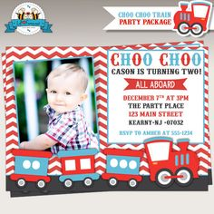 Choo Choo Train Birthday Party Photo Invitation Personalized Printable - Invite  - Personalized invitation - Chugga Printables in-9