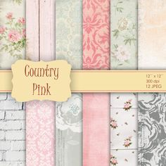 12 Vintage Flower Shabby Chic Digital Papers - for Scrapbooking, Crafts, Invitations, Digital Scrapbooking COMMERCIAL USE