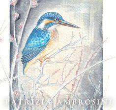 Original 7x9 Watercolour Kingfisher among by happyapplebumblebee