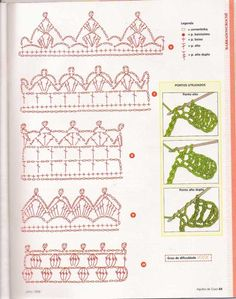 Crochet Motif Patterns, Crochet Borders, Crochet Diagram, Crochet Chart, Crochet Squares, Crochet Designs, Crochet Stitches, Crochet Beret, Knit Or Crochet