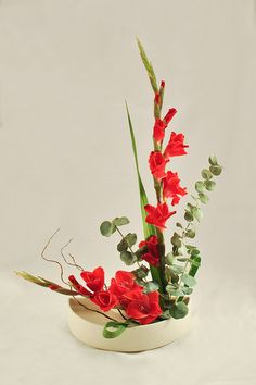 Gladiola and Eucalyptus Ikebana by tokyofortwo, via Flickr