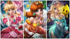 Peach, Daisy, and Rosalina Princesa Daisy, Princesa Peach, Super Mario Princess, Nintendo Princess, Mario Fan Art, Super Mario Art, Luigi And Daisy, Peach Mario, Harley Quinn