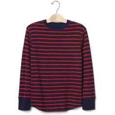 Gap Stripe Waffle Knit Tee ($16) ❤ liked on Polyvore featuring tops, t-shirts, modern red, regular, crew neck long sleeve t shirt, long sleeve tees, crew neck tee, striped long sleeve t shirt and long sleeve crew tee