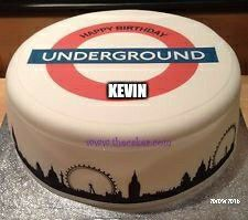 Personalised UK London Underground Tube pre-cut large by TheCaker 40th Birthday Cakes, 40 Birthday, London Underground Tube, London Cake, Childrens Party, Cupcake Toppers, Cake Ideas, Icing, Birthdays