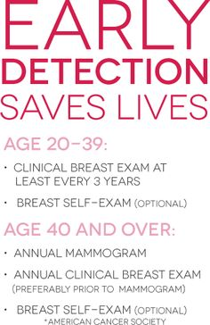 FROM EXPERIENCE...DO SELF EXAMS... MY FIRST BRCA WAS NOT DETECTED ON 5 MAMMOS...THE 6TH WITH THE LITTLE B-B WHERE I FELT THE LUMP... BE YOUR OWN ADVOCATE...AND PRAY ALOT!!!!!!!!  DD:)
