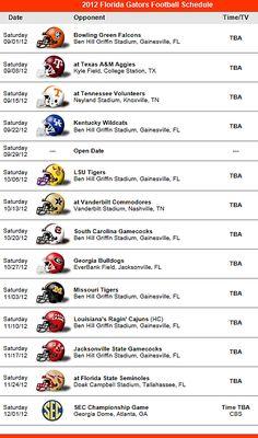 Florida Gators Football Team 2012 Schedule