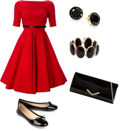 """""""50's red and black"""" by testybrunette on Polyvore"""