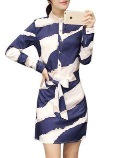 Print chiffon long sleeve lapel belt slim women dress floral dresses vancouver #3/4 #length #sleeve #floral #dresses #floral #dresses #london #floral #dresses #usa #floral #zip #dress