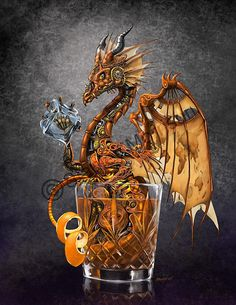 Steampunk themed Old Fashioned drink dragon. Old world map pattern on wings. Tiny Dragon, Dragon Heart, Steampunk, Fantasy Creatures, Mythical Creatures, Old Fashioned Drink, Dragon's Lair, Dragon Artwork, Dragon Print