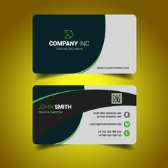 Corporate green business card design vector free download visiting business card design reheart Gallery